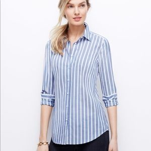 NWT Ann Taylor perfect fit striped button up 6
